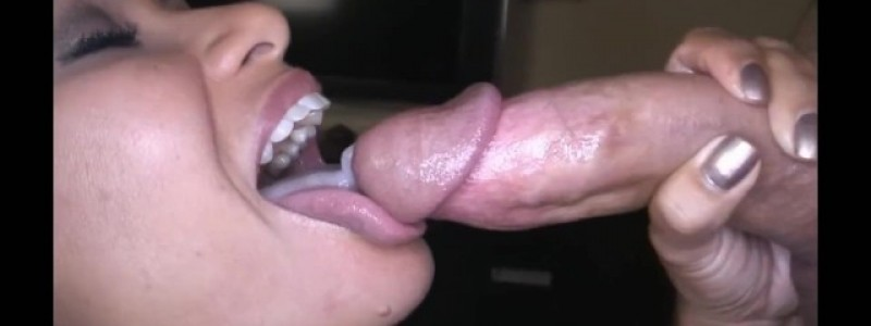 Swallowing a huge river of cum!