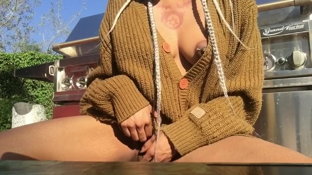 Playing with my pussy outside; cum home & cum at home