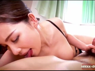 A beautiful young Japanese girl gave a massage to my cock.