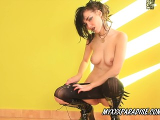 Goth girl perfect body and pierced nipples Alice in boots and pantyhose