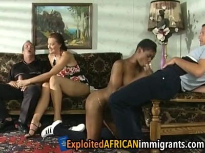 Amazing foursome with a sexy ebony and a hot white milf