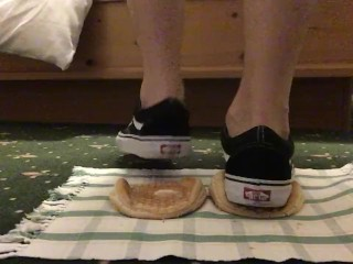 Crushing food with Vans shoes