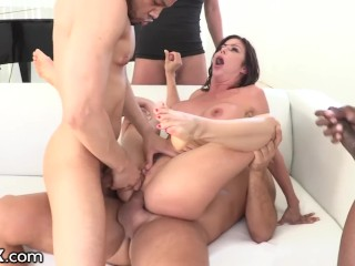 HardX Alexis Fawx Gets Her Holes Filled By 4 Big Dicks