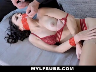 Husband Leaves Hot Trophy Wife Tied Up For Collection Agent To Fuck