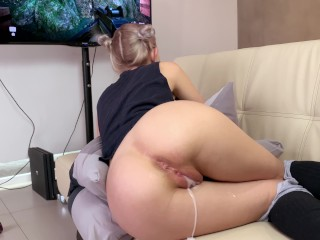 Step sister gets a creampie and facial while playing a game - Eva Elfie