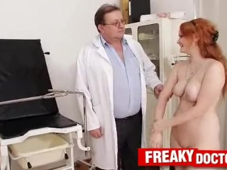Pale skin Czech redhead Samantha medical doctor check-up