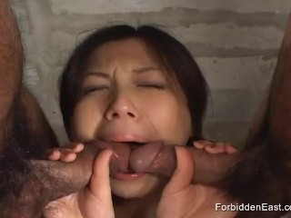Japanese Teen Gives Double Blowjob Then Gets Fucked Hard In Hairy Pussy