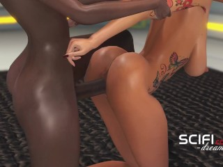 Sci-Fi. 3d black sexy dickgirl fucks hard young blonde in the space station