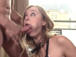 HALEY REED GIVES ENTHUSIASTIC RIMJOB AND IS CHOCKED BY A BIG COCK