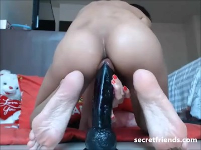 Latina takes big black pole in her ass