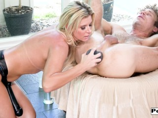 India Summer uses huge glass toys and a giand dildo to strapon fuck and gap