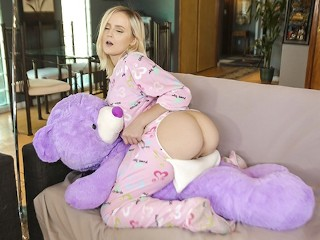 ExxxtraSmall - Tiny Blonde Caught Humping Stuffed Animal Gets Fucked