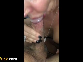 Blowjob and swallow from cute mommy