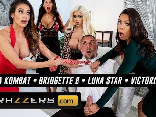 Brazzers - Four big tit Latinas fight for bosses big cock