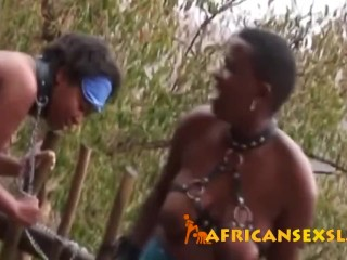 African busty sluts get tortured by white master