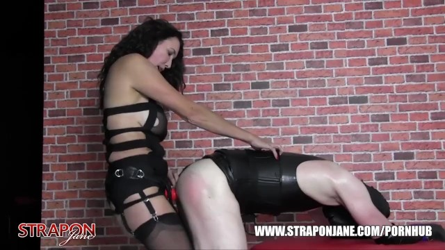 Femdom Strapon Jane dominates fucks tight leather TGirls horny wet pussy