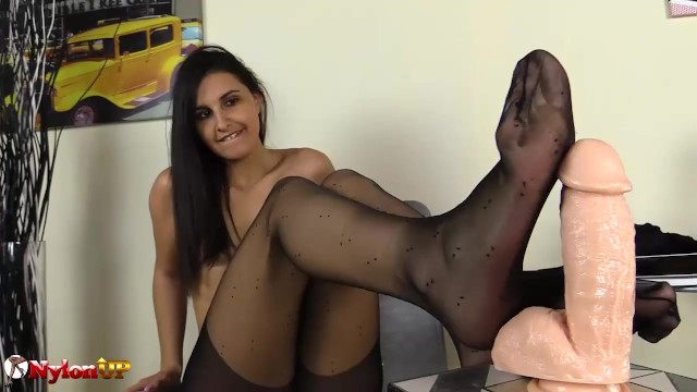 Long Feet Brunette Footjob in pantyhose