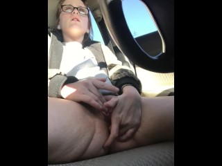 little texas girl plays with herself in a car