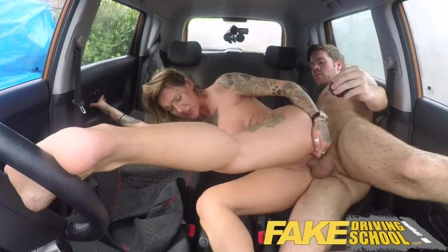 Fake Driving School Messy creampie advanced lesson for tattooed thot