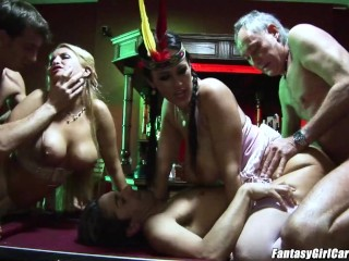Carmella Bing fuck in both holes pool table double penetration
