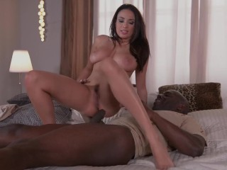Ever-horny top-heavy bombshell Anissa Kate takes big black dick for a ride