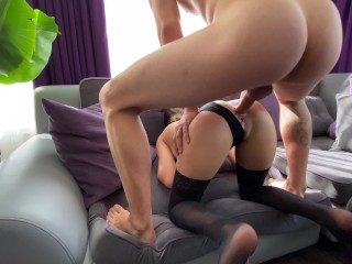 Tiny girlfriend gets hard pounding in ass from behind on sofa by thick dick