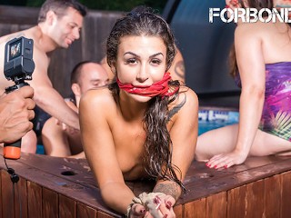 CrowdBondage - Big Tits Babe Bound & Fucked At The Pool Party - ForBondage