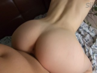 Hot POV with blonde cowgirl doggystyle and sloppy blowjob with cum in mouth