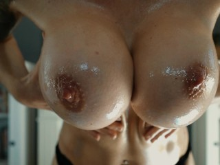 Big perfect tits in wet shirt and oil