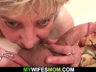 Cock-hungry mother-in-law wakes him up for sex