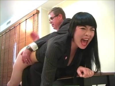 Girls Breaks In To Government Facility and is given a bare bottom spanking