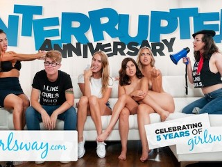 GIRLSWAY Interrupted 5 Year Anniversary Sex!