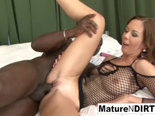 Brunette MILF masturbates before taking a BBC