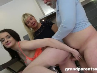 Old couple fucks younger girl