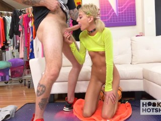 Skinny blonde sex doll Tallie Lorraine gets fucked hard by date