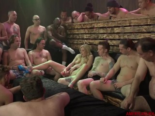 Bukkake with 18 guys facial cute american blonde