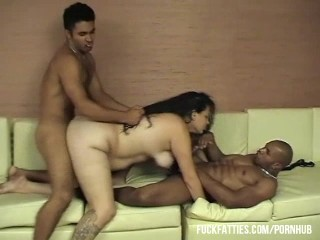 Latina Having Private Party With Two Hunks