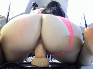 Big Butt Brunette Rides Dildo For Her Viewers