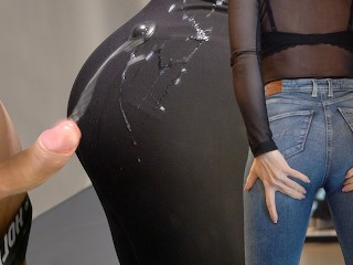 Huge Cumshot on H&M leggings in a public changing room