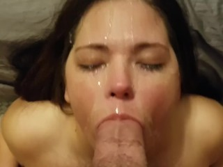 Sexy amateur sucks big cock for a messy facial cumshot