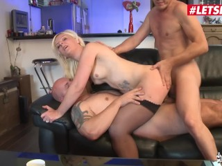 LETSDOEIT - Cheating French MILF slut Takes Two Dicks At Once