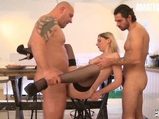 AmateurEuro - Hot French Teen Seduces and Fucks StepDaddy And His Friend