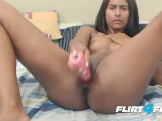 April Suarez on Flirt4Free - Colombian Hottie Stretches Out Her Wet Pussy