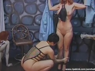Dark haired slut dominates two sluts