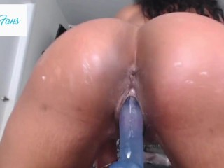 Big Ass Latina Rides Dildo