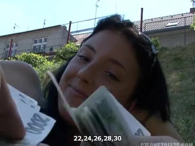 Amazing teen enjoys a public blowjob, sex, then swallows cum with a smile!
