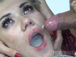 Premium Bukkake - Eva swallows 58 huge mouthful cumshots
