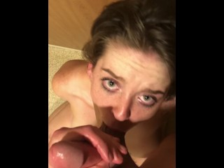 Dirty college slut chokes on fat juicy cock