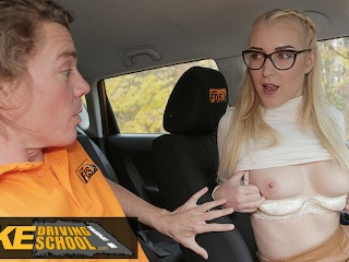 Fake Driving School Blonde learner Amaris and her perfect boobs fucked