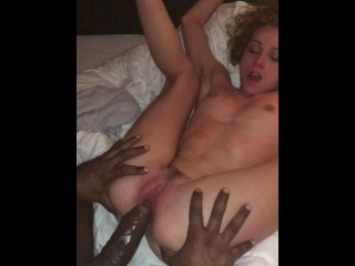 Adolescent got a creampie on her tight pussy by a BBC then BF creampie too